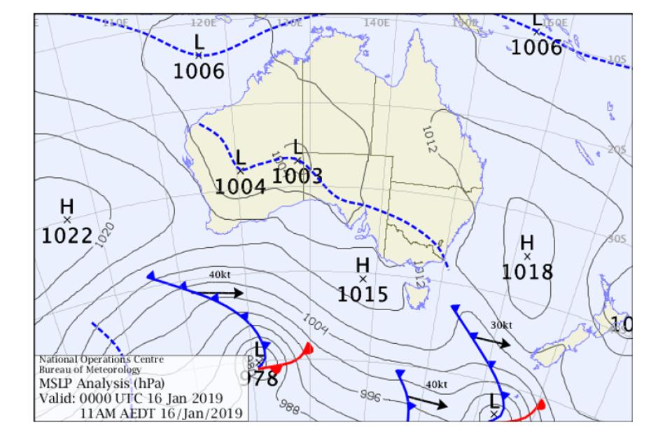 मौसम विभागले जनवरी १६ मा निकालेको रेखाचित्र